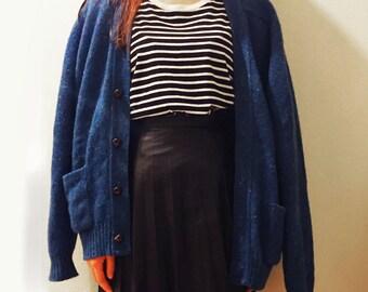 Dark Blue Wool Cardigan