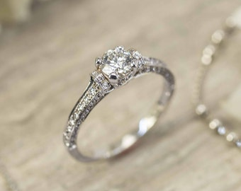 Beautiful Delicate Diamond Engagement ring in 18K white gold, 0.46 carats center diamond ring