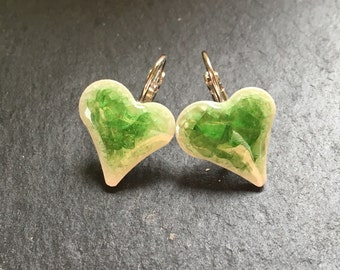 """Earrings """"Heart"""" ceramic elements with Crackle glaze"""