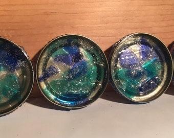 Set of four sea glass coasters