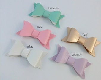"Faux Leather Hair Bows, 2 1/2"" Leather Bows, Leather Bows Hair Clips, Baby Accessories, Craft Bows Supply"