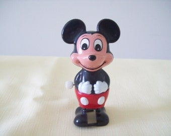 Mickey Mouse Walking Wind Up Toy. Hard Plastic. Walt Disney Productions. Vintage. TOMY.