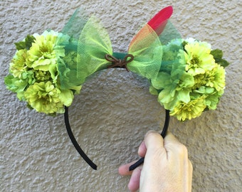 Peter Pan Inspired Floral Ears Double-Sided