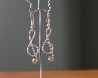 Treble Clef Earrings with Yellow Sapphire