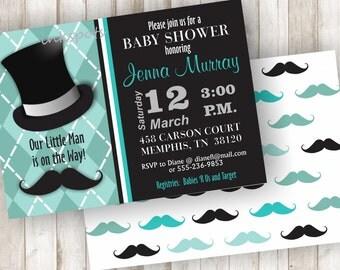 Little Man Baby Shower Invitation Oh Boy Baby Shower Invitation Printable Baby Boy Shower Invite Mustache Invite Little Man Invite BBLM01