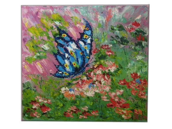 Butterfly Childrens Painting Bright Colors Gifts for kids Small painting Home decor Childs decor Paintings kids Wall decor Green Gift ideas