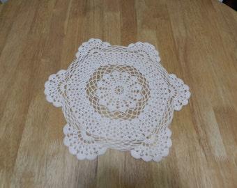 White Crochet Tabletop Doily