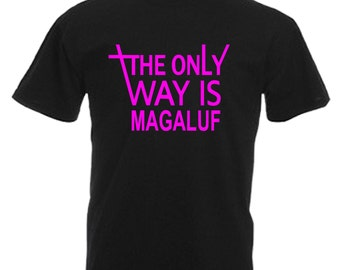 Magaluf Adults Black T Shirt Sizes From Small - 3XL