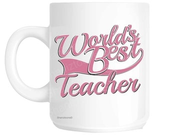 Teacher World's Best Pink Novelty Gift Mug shan800