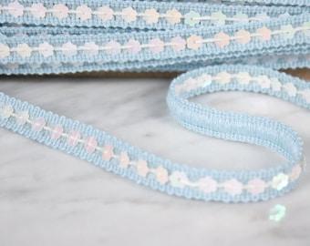 6 m 11mm, acrylic, pale blue ribbon, (1267)