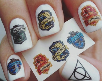 Harry Potter Nail Decals - Gryffindor, Slytherin, Hufflepuff, Ravenclas, Deathly Hallows