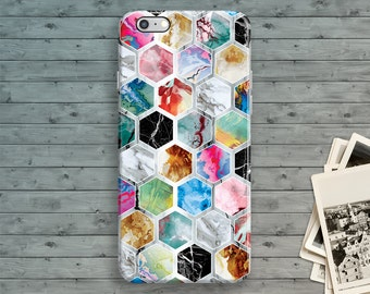 iPhone 7 Case, iPhone 6 Case, iPhone 6S Plus, iPhone 6S Plus, Marble Hexagon iPhone SE case, iPhone 5 Case, iPhone 5S Case, iPhone 5C Case