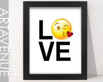 love emoji – Etsy : Emoji Wall Art Ideas For Kids