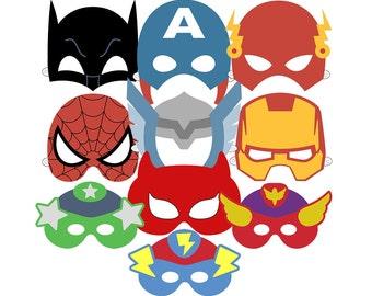 10 Superhero Masks Printable PDF