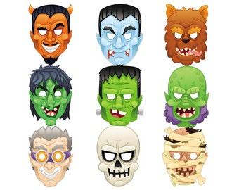 15 Monster Masks Printable PDF