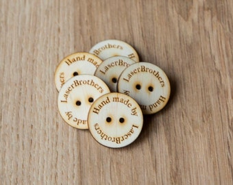 Custom Wooden Buttons with Your Shop Name or Logo, Personalized Buttons, Knitting buttons, Craft Buttons, Personalized Button, Rustic Button