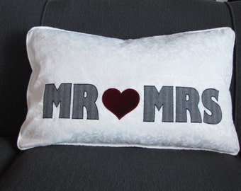 """Throw Pillow Cover, """"Mr"""" and """"Mrs"""" in Grey Herringbone Appliqued onto Upcycled White Damask Fabric with Red Velvet Heart, Pillowtalk"""