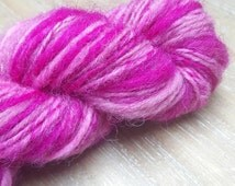 50g Sparkly Candy cane hand spun shetland yarn wool / gradient of pinks with angelina sparkle