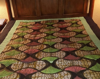 Full size whole cloth quilt original African waxed fabric from Ghana 60x 72