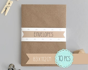 Envelope C7 / kraft brown / 8,3 x 11,2 cm / 10 pieces