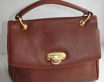 Vintage Medici brown leather handbag purse from 60's with golden details