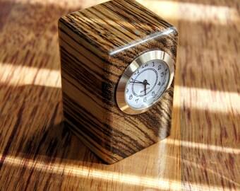 Zebrawood Table Clock - Massive wood zebrano