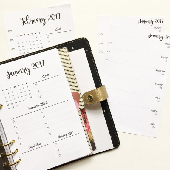 Monthly Planner Insert Sets Half Letter Size | Week On One Page With Grid | M-S | Dated | Simple