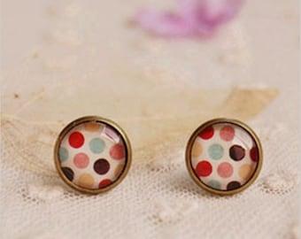 Spring Modern Colourful Dots/Spots. Handmade Vintage Boho Glass Stud Earrings. Jewellery Gift for Women, Girlfriend, Wife, Fiancee, Girl.
