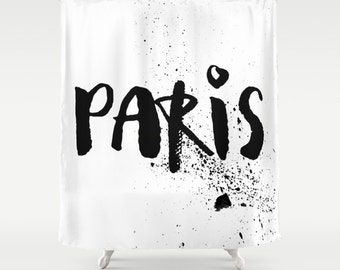 Paris Shower Curtain, Black And White Shower Curtain, Paris Decor, Modern Shower  Curtain
