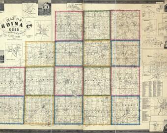 1857 Map of Medina County Ohio Landowners reprint
