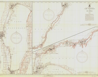 1939 Nautical Map of Lake Winnebago Wisconsin