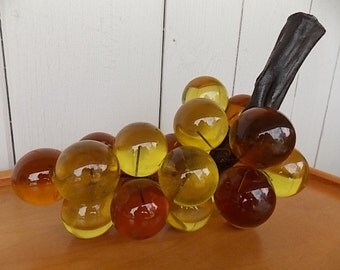 Mid Century Lucite Gold, Amber and Brown Grapes on a Wooden Handle
