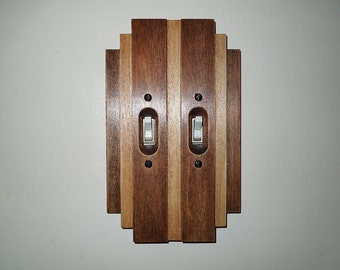 Art Deco Old House Home Light Switch Cover Double Switchplate Wood Switch Plate