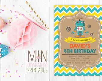 Robot Invite 5-- Robot Invitation - Robot Birthday Invitation - Robot Party Invitation- Let's Go Nuts - Boy Robot Birthday Party