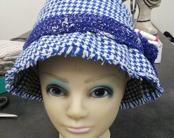 Blue houndstooth Hat