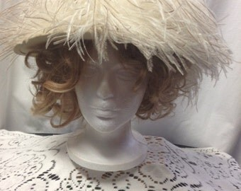 Vintage, 1960s, hat, ostrich feathers, winter white, by Deborah Exclusive, fall, winter, one of a kind, fun, funky, high tea, luncheon