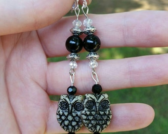 Onyx Earrings with Czech Glass Owls Silver plated Hooks 8mm Onyx beads