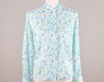 Vintage Floral Blouse  |  Retro Summer Blouse  |  Ladies Floral Shirt  |  Vintage Women's Shirt