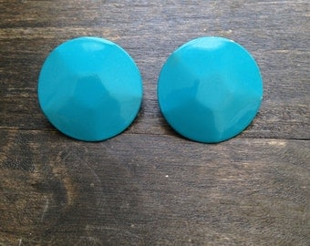 Blue round circle earrings, 1990's, 1990s, earrings vintage earrings, vintage jewellery, vintage blue earrings