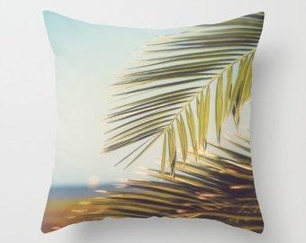 outdoor pillows, tropical pillows, tropical decor, palm trees, fronds, summer, beach decor, beach house, weather resistant, beach pillow