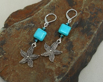 Earrings Starfish turquoise