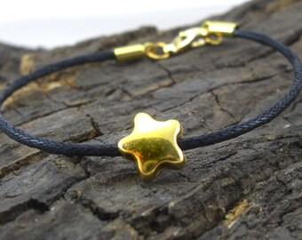 Bracelet asterisk Star Gold black