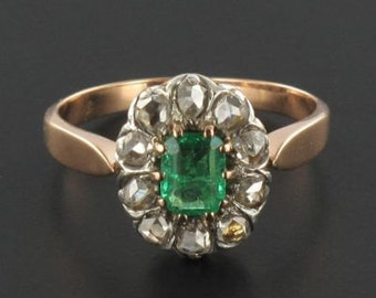 Ring old Emerald Gold Diamond Pink