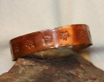 Stamped and Hammered Copper Cuff