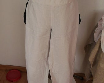 trousers of linen white color, linen clothing, linen trousers