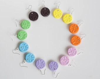 Colorful Mini Oreos Earrings with Crystal - Polymer Clay Handmade Jewelry - Miniature Food - Oreo Earrings