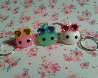 Japanese Silicone Drop Key Chain, Cute Sunglasses, 3 Colors, Fairy Kei, Magical Girl