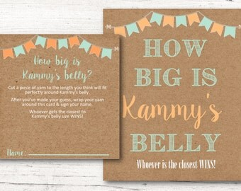 Printable Personalized Baby Shower Belly Card Game & Matching Sign - Mint and Coral Rustic Kraft Paper- DESIGN 073