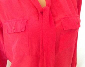 90's 80's Vintage Silk Fuschia Button Down Blouse Pink Blouse Sz 10