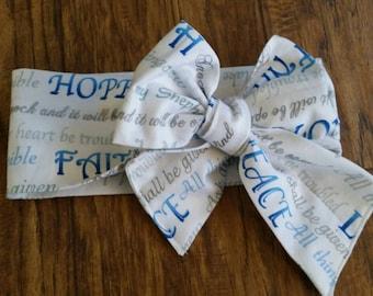 Peace love faith hope headwrap